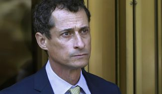 """FILE - In this Sept. 25, 2017 file photo, former Congressman Anthony Weiner leaves federal court following his sentencing in New York. Weiner has left a New York City halfway house after completing his prison sentence for illicit online contact with a 15-year-old girl. According to the New York Post, Weiner said while leaving the Bronx facility on Tuesday, May 14, 2019, that it's """"good to be out"""" and he hopes to """"live a life of integrity and service."""" (AP Photo/Mark Lennihan, File)"""