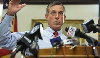 """In this Friday, Sept. 1, 2017, file photo, Gov. John Carney speaks at a news conference in Wilmington, Del. Delaware's attorney general is investigating the medical contractor for the state's prison system amid allegations that contract counselors were ordered to forge documents to indicate that inmates were getting mental health treatment they never received. """"It's upsetting that so many years down the road, and we're still not apparently getting what we're paying for,"""" a frustrated Carney said Tuesday, May 14, 2019. """"That's just unacceptable."""" (Suchat Pederson/The News Journal via AP, File)"""