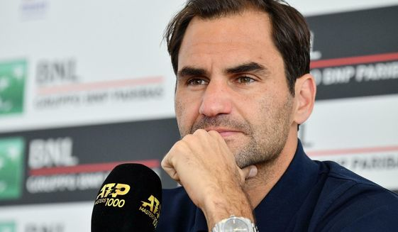 Switzerland's Roger Federer looks on during a press conference at the Italian Open tennis tournament, in Rome, Italy, Tuesday, May 14, 2019. (Ettore Ferrari/ANSA via AP)