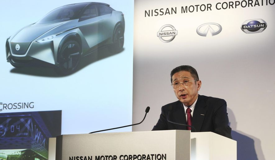 Nissan Motor Co. Chief Executive Hiroto Saikawa speaks during a press conference at its Global Headquarters in Yokohama, near Tokyo Tuesday, May 14, 2019. Japanese automaker Nissan, reeling from the arrest of its former Chairman Carlos Ghosn, reported Tuesday that annual profit nose-dived to less than half of what it earned the previous year, and forecast even dimmer results going forward.(AP Photo/Koji Sasahara)