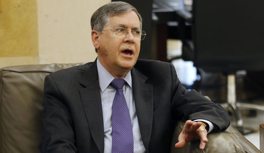 """U.S. Deputy Assistant Secretary of State David Satterfield, speaks during his meeting with Lebanese Prime Minister Saad Hariri, in Beirut, Lebanon, Tuesday, May 14, 2019. Satterfield's visit comes a week after President Michel Aoun presented the U.S. ambassador to Lebanon with a """"unified stance"""" regarding the demarcation of maritime border between Lebanon and Israel. (AP Photo/Bilal Hussein)"""