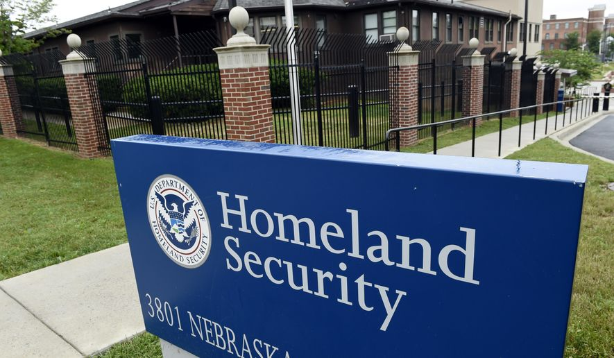 FILE - This June 5, 2015, file photo, shows the Homeland Security Department headquarters in northwest Washington.  (AP Photo/Susan Walsh, File)