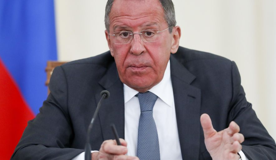 Russian Foreign Minister Sergey Lavrov speaks during his and U.S. Secretary of State Mike Pompeo joint news conference following the talks in the Black Sea resort city of Sochi, southern Russia, Tuesday, May 14, 2019.(AP Photo/Pavel Golovkin, Pool)
