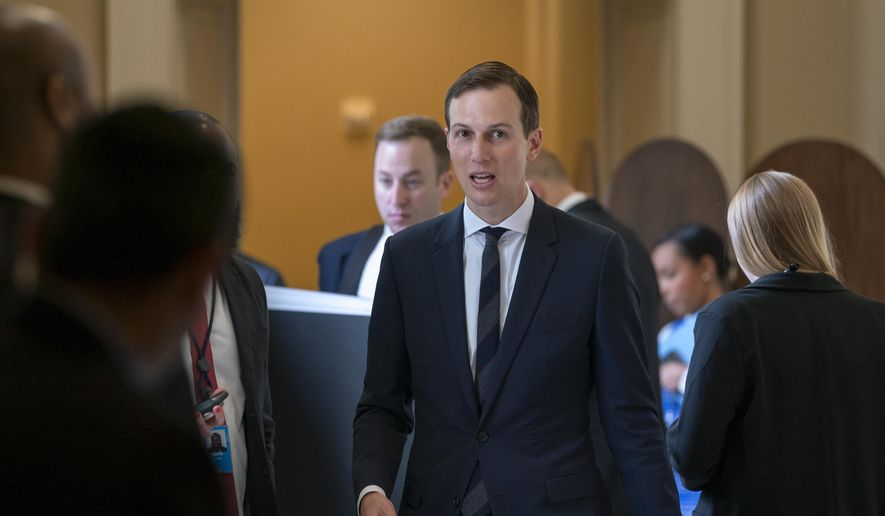 President Donald Trump's senior adviser, and son-in-law, Jared Kushner, departs the Capitol after a meeting with Senate Republicans, in Washington, Tuesday, May 14, 2019. (AP Photo/J. Scott Applewhite) ** FILE **