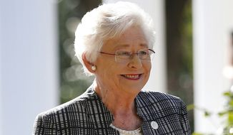 In this Nov. 17, 2017, file photo, Alabama Gov. Kay Ivey speaks to the media in Montgomery, Ala. Alabama lawmakers have passed a near total ban on abortion. The state Senate on Tuesday, May 14, 2019, passed the bill that would make performing an abortion at any stage of pregnancy a felony. The bill now goes to Ivey, who will decide whether to sign the legislation into law. (AP Photo/Brynn Anderson, File)