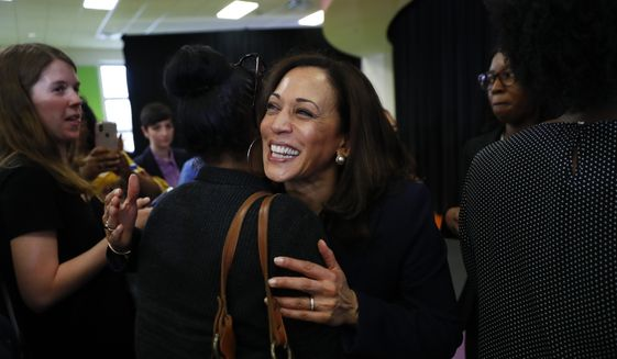 In this May 6, 2019, photo, Democratic presidential candidate Sen. Kamala Harris, D-Calif., greets supporters after a town hall for the American Federation of Teachers in Detroit. Harris wants to ban the importation of AR-15-style assault weapons by executive action if elected president. On May 15, she is set to detail her proposal to stop importing the weapons until the Bureau of Alcohol, Tobacco, Firearms and Explosives can analyze whether the ban should be permanent.(AP Photo/Paul Sancya)