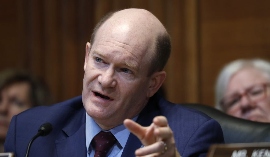 Financial Services and General Government subcommittee Ranking Member Sen. Chris Coons, D-Del., questions Treasury Secretary Steven T. Mnuchin during a Financial Services and General Government subcommittee hearing, Wednesday, May 15, 2019, on Capitol Hill in Washington. (AP Photo/Jacquelyn Martin) ** FILE **