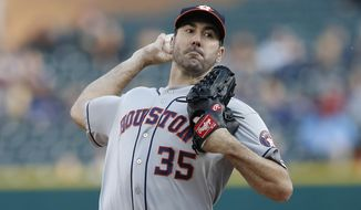 Houston Astros starting pitcher Justin Verlander throws during the first inning of a baseball game against the Detroit Tigers, Wednesday, May 15, 2019, in Detroit. (AP Photo/Carlos Osorio)