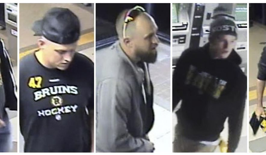 This panel of still images released through the Massachusetts Bay Transit Authority police website from Friday, May 10, 2019, surveillance video shows five suspects, some wearing Boston Bruins clothing, sought in connection to an assault where the victim suffered facial fractures at an MBTA station in Quincy, Mass., shortly after the Bruins beat the Carolina Hurricanes in a home playoff game. Transit police announced Wednesday, May 15, that based on numerous tips from the public, four had turned themselves in. (MBTA Transit Police via AP)