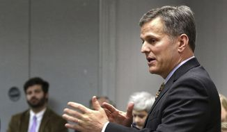 In this Wednesday, March 22, 2017, file photo, North Carolina Attorney General Josh Stein speaks at a roundtable discussion at the Gastonia Police Department community room in Gastonia, N.C. (John Clark/The Gaston Gazette via AP, File)