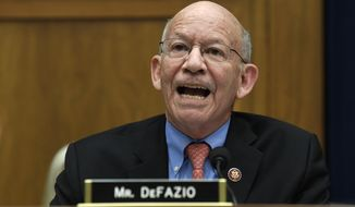Rep. Peter DeFazio, D-Ore., speaks during a House Transportation Committee hearing on Capitol Hill in Washington, Wednesday, May 15, 2019, on the status of the Boeing 737 MAX aircraft. (AP Photo/Susan Walsh) **FILE**
