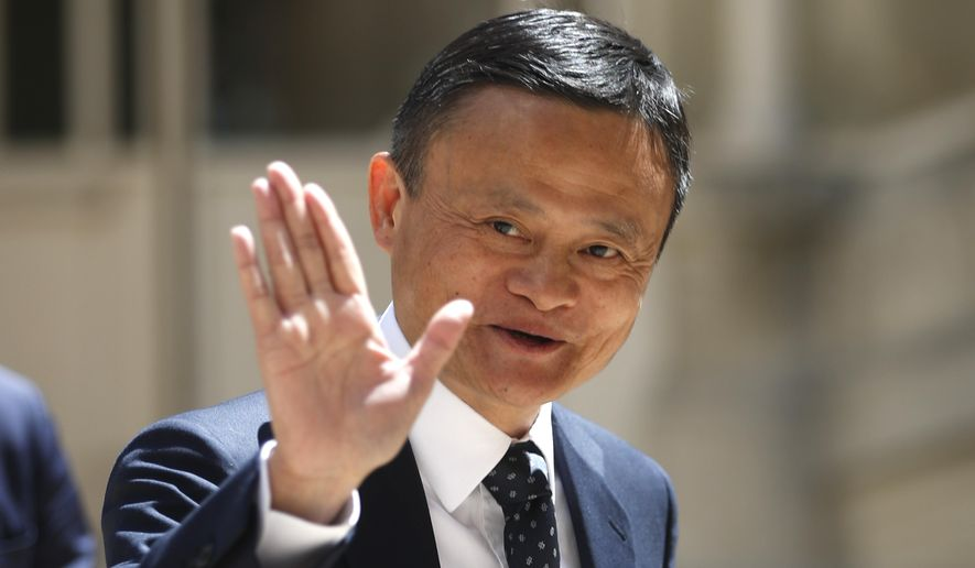 Founder of Alibaba group Jack Ma arrives for the Tech for Good summit, Wednesday, May 15, 2019 in Paris. World leaders and tech bosses meet Wednesday in Paris to discuss ways to prevent social media from spreading deadly ideas. (AP Photo/Thibault Camus)
