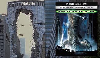 "The Metlife building in New York City takes a hit in ""Godzilla,"" now available on 4K Ultra HD from Sony Pictures Home Entertainment."