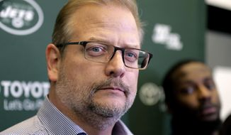 In this Dec. 31, 2018 file photo, New York Jets general manager Mike Maccagnan speaks to reporters in Florham Park, N.J. The New York Jets have fired Maccagnan and coach Adam Gase will serve as the acting GM in his place. The stunning decision by team chairman and CEO Christopher Johnson was announced in a statement posted on the team's Twitter account. Maccagnan had been the Jets' general manager since 2015. (AP Photo/Seth Wenig, File) **FILE**