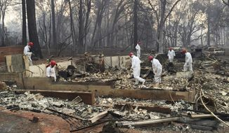 FILE - In this Nov. 15, 2018 file photo, volunteer rescue workers search for human remains in the rubble of homes burned in the Camp Fire in Paradise, Calif. California fire authorities say that Pacific Gas and Electric equipment was responsible for the deadliest and most destructive wildfire in state history. Cal Fire said in a press release issued Wednesday, May 15, 2019, that electrical transmission lines in the Pulga area sparked the Nov. 8 fire that wiped out most of the town of Paradise and killed 85 people. (AP Photo/Terry Chea, File)