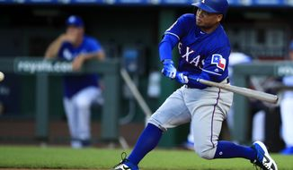 Texas Rangers designated hitter Willie Calhoun hits a two-run home run off Kansas City Royals starting pitcher Jorge Lopez during the first inning of a baseball game at Kauffman Stadium in Kansas City, Mo., Wednesday, May 15, 2019. (AP Photo/Orlin Wagner)