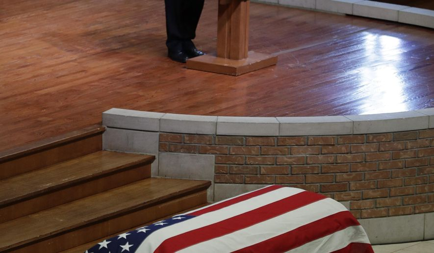 """Vice President Mike Pence speaks during a funeral service for Sen. Richard Lugar, Wednesday, May 15, 2019, in Indianapolis. Lugar was a longtime Republican senator and former Indianapolis mayor who's been hailed as an """"American statesman"""" since he died April 28 at age 87. (AP Photo/Darron Cummings)"""