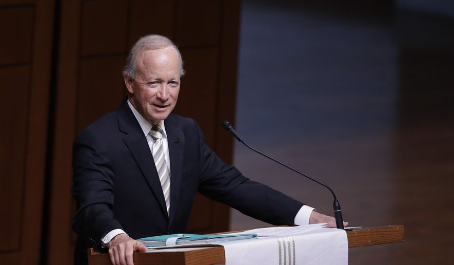 Former Indiana Governor Mitch Daniels, president of Purdue University, speaks during a funeral service for Sen. Richard Lugar, in this Wednesday, May 15, 2019 file photo. (AP Photo/Darron Cummings) **FILE**