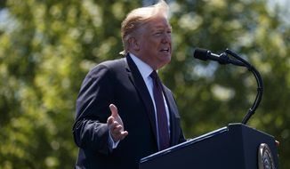 President Donald Trump speaks at the 38th Annual National Peace Officers' Memorial Service at the U.S. Capitol, Wednesday, May 15, 2019, in Washington. (AP Photo/Evan Vucci)