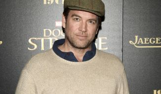 """FILE - In this Nov. 1, 2016 file photo, Michael Weatherly attends a special screening of """"Doctor Strange"""" at AMC Empire 25 in New York. CBS is defending its handling of a sexual harassment by Weatherly, star of the drama series """"Bull."""" CBS Entertainment President Kelly Kahl said Wednesday that Weatherly """"owned"""" his mistake and was apologetic and remorseful. Last year, CBS reached a $9.5 million confidential settlement with actress Eliza Dushku after she alleged on-set sexual comments from Weatherly made her uncomfortable. (Photo by Andy Kropa/Invision/AP, File)"""