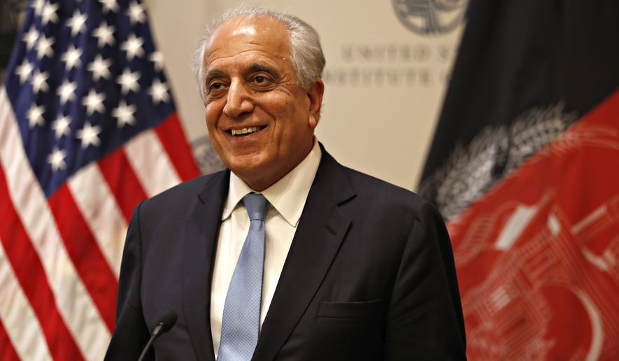 Special Representative for Afghanistan Reconciliation Zalmay Khalilzad approaches the microphone to speak on the prospects for peace, Friday, Feb. 8, 2019, at the U.S. Institute of Peace, in Washington. (AP Photo/Jacquelyn Martin) ** FILE **