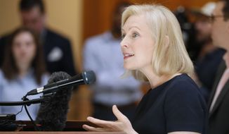 Presidential candidate Sen. Kirsten Gillibrand, D-N.Y., speaks during a news conference at the Georgia State Capitol in Atlanta on Thursday, May 16, 2019, to discuss abortion bans in Georgia and across the country. (Bob Andres/Atlanta Journal-Constitution via AP)