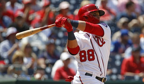 Washington Nationals' Gerardo Parra hits a two-run home run in the fifth inning of a baseball game against the New York Mets, Thursday, May 16, 2019, in Washington. (AP Photo/Patrick Semansky) ** FILE **
