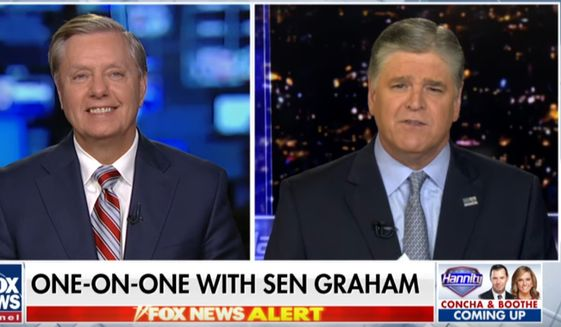 """Fox News host Sean Hannity speaks with  Sen. Lindsey Graham, May 15, 2019. The South Carolina Republican said that those who """"love the rule of law"""" will be upset when the Justice Department inspector general's report on  alleged abuse of the Foreign Intelligence Surveillance Act is released. (Image: Fox News screenshot)"""