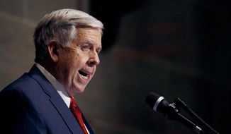 In this Jan. 16, 2019, file photo, Missouri Gov. Mike Parson delivers his State of the State address in Jefferson City, Mo. Parson on Wednesday, May 15, called on state senators to take action on a bill to ban abortions at eight weeks of pregnancy, the latest GOP-dominated state emboldened by the possibility that a more conservative Supreme Court could overturn its landmark ruling legalizing the procedure. (AP Photo/Charlie Riedel, File)