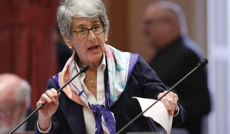 State Sen. Hannah-Beth Jackson, D-Santa Barbara, addresses the Senate, Thursday, May 16, 2019, in Sacramento, Calif. The Senate Appropriations Committee failed to advance Jackson's bill to expand the state's new data privacy law and allow consumers to take companies to court over violations, Thursday. (AP Photo/Rich Pedroncelli)