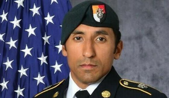 This undated photo provided by the U.S. Army shows U.S. Army Staff Sgt. Logan Melgar Green Beret, who died from non-combat related injuries in Mali in June 2017. The attorney for Navy SEAL Adam Matthews, one of four U.S. servicemen charged in the death of Melgar, said Matthews will plead guilty Thursday, May 16, 2019, to hazing, assault and other charges. But a murder charge will be dropped. (U.S. Army via AP)