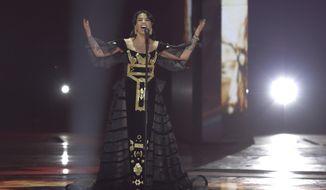Jonida Maliqi of Albania performs during the 2019 Eurovision Song Contest second semi-final in Tel Aviv, Israel, Thursday, May 16, 2019. (AP Photo/Sebastian Scheiner)