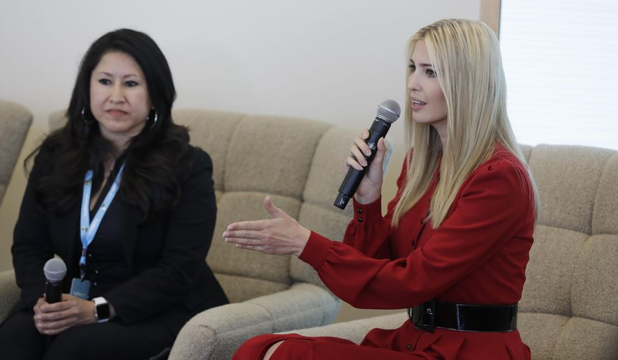 """Ivanka Trump speaks during a news conference, Thursday, May 16, 2019, in Indianapolis. During an event with President Donald Trump's daughter and senior adviser on Thursday,  Salesforce chairman Marc Benioff announced that the business software company aims to provide skills training to 500,000 people as part of a Trump administration push to boost career opportunities among Americans. Ivanka Trump said a goal of the """"Pledge to America's Workers"""" program is that everyone has equal access to career training and opportunities. (AP Photo/Darron Cummings)"""
