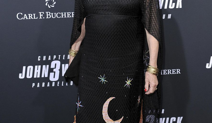 "Anjelica Huston attends a special screening of ""John Wick: Chapter 3 - Parabellum"" at the TCL Chinese Theatre on Wednesday, May 15, 2019, in Los Angeles. (Photo by Richard Shotwell/Invision/AP)"