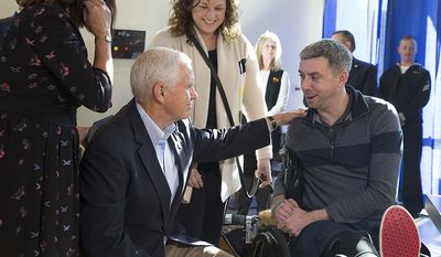 Vice President Mike Pence and Mrs. Karen Pence meet with Stf Sgt. Liam Dwyer of the 3rd Battalion 5th Marine Regiment, Camp Pendleton, and his wife Meghan, at the USO Warrior and Family Center in Bethesda, Maryland | November 22, 2017 (Official White House Photo by Joyce N. Boghosian)
