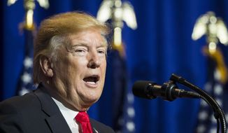 President Donald Trump speaks at the National Association of Realtors Legislative Meetings and Trade Expo, Friday, May 17, 2019, in Washington. (AP Photo/Alex Brandon)