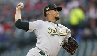 Oakland Athletics starting pitcher Frankie Montas throws during the first inning of a baseball game against the Detroit Tigers, Friday, May 17, 2019, in Detroit. (AP Photo/Carlos Osorio)
