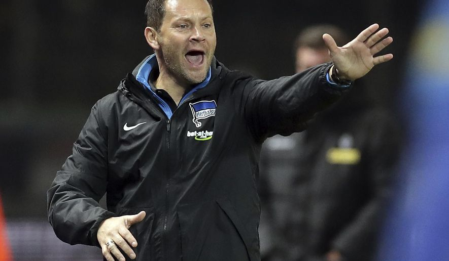 File -- In this Saturday, Nov. 18, 2017 photo Hertha's head coach Pal Dardai gestures during the German Bundesliga soccer match between Hertha BSC Berlin and Borussia Moenchengladbach in Berlin, Germany. (AP Photo/Michael Sohn, file)