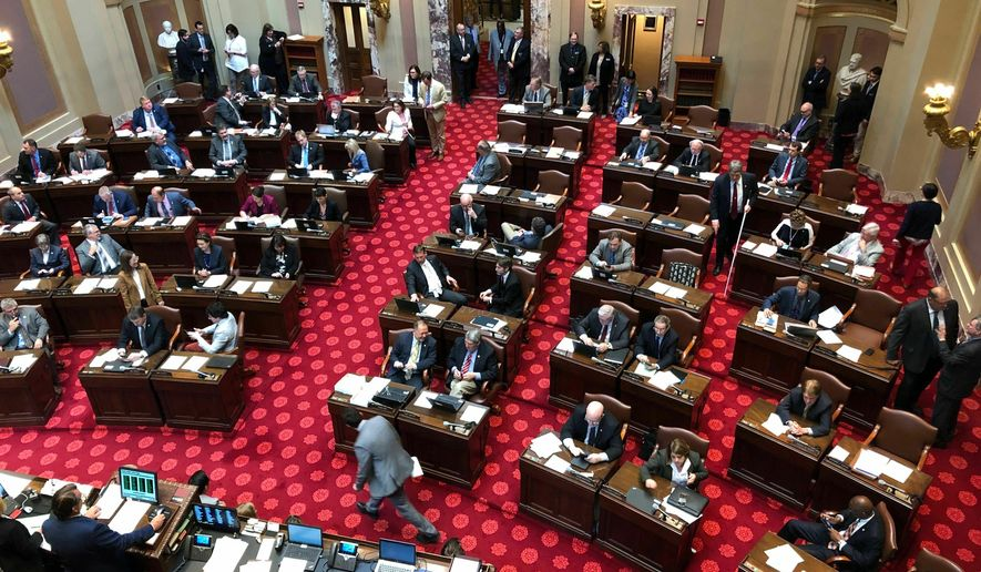 The Minnesota Senate discusses routine bills on Friday, May 17, 2019, in St. Paul Minn., as a Monday deadline looms with no agreement yet on a budget deal to finish the 2018 legislative session. Karnowski.(AP Photo/Steve Karnowski)
