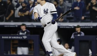New York Yankees' Gio Urshela follows through on a game-winning RBI single during the ninth inning of the team's baseball game against the Tampa Bay Rays on Friday, May 17, 2019, in New York. The Yankees won 4-3. (AP Photo/Frank Franklin II)