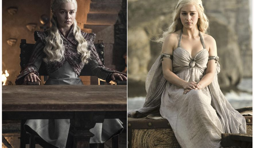 """This combination photo of images released by HBO shows Emilia Clarke portraying Daenerys Targaryen in """"Game of Thrones.""""The final episode of the popular series airs on Sunday. (HBO via AP)"""