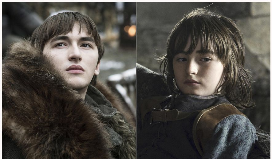 """This combination photo of images released by HBO shows Isaac Hempstead Wright portraying Bran Stark in """"Game of Thrones."""" The final episode of the popular series airs on Sunday. (HBO via AP)"""