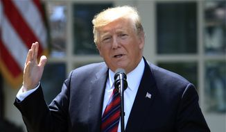 In this May 16, 2019, photo, President Donald Trump speaks in the Rose Garden of the White House in Washington. For all Trump's talk of winning, his lawyers are using a legal argument that many scholars say is a pretty sure loser to try to defy congressional attempts to investigate him. (AP Photo/Manuel Balce Ceneta)