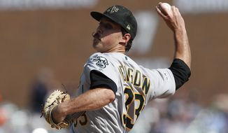 Oakland Athletics starting pitcher Daniel Mengden throws during the second inning of a baseball game against the Detroit Tigers, Saturday, May 18, 2019, in Detroit. (AP Photo/Carlos Osorio)