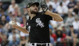 Chicago White Sox starting pitcher Lucas Giolito throws against the Toronto Blue Jays during the first inning of a baseball game in Chicago, Saturday, May 18, 2019. (AP Photo/Nam Y. Huh)