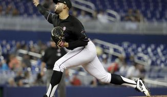Miami Marlins starting pitcher Pablo Lopez throws in the first inning during a baseball game against the New York Mets, Saturday, May 18, 2019, in Miami. (AP Photo/Lynne Sladky)