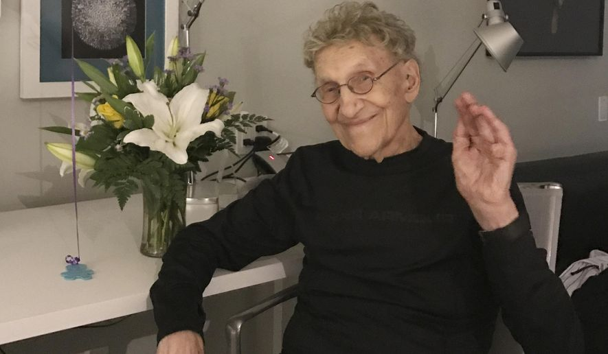 This Feb. 7, 2017 photo provided by Suzanne Shore shows her husband, Sammy Shore. The actor and standup comedian who co-founded the Comedy Store died Saturday, May 18, 2019. He was 92. (Suzanne Shore via AP)