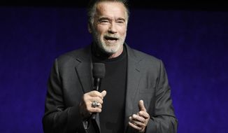 "In this Thursday, April 4, 2019, file photo, Arnold Schwarzenegger, a cast member in the upcoming film ""Terminator: Dark Fate,"" discusses the film during the Paramount Pictures presentation at CinemaCon 2019, the official convention of the National Association of Theatre Owners (NATO) at Caesars Palace, in Las Vegas. (Photo by Chris Pizzello/Invision/AP, File)"