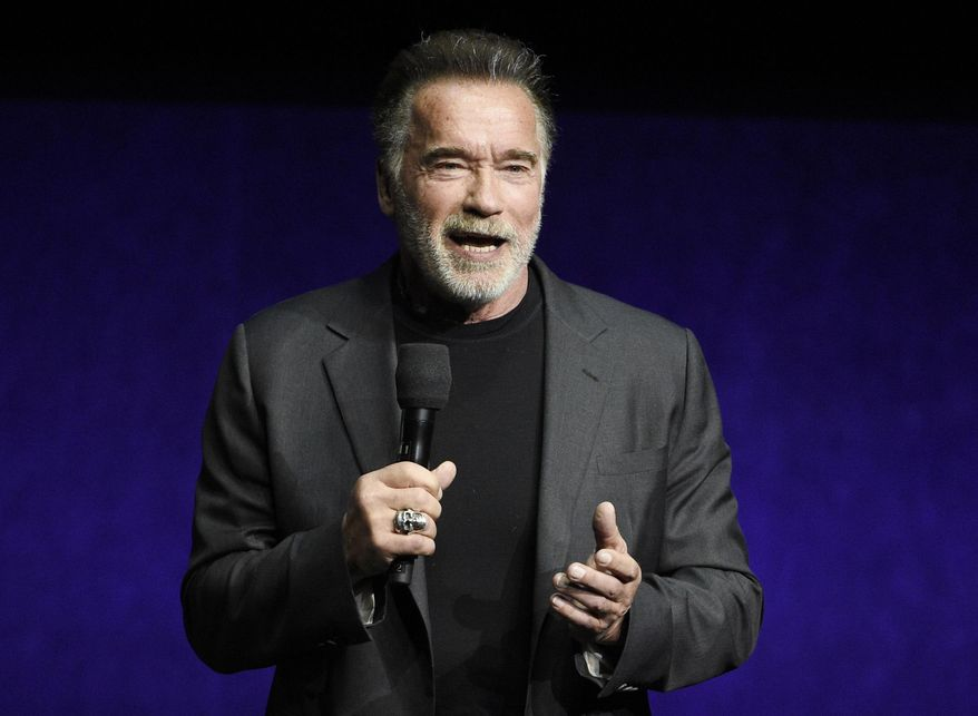 """In this Thursday, April 4, 2019, file photo, Arnold Schwarzenegger, a cast member in the upcoming film """"Terminator: Dark Fate,"""" discusses the film during the Paramount Pictures presentation at CinemaCon 2019, the official convention of the National Association of Theatre Owners (NATO) at Caesars Palace, in Las Vegas. (Photo by Chris Pizzello/Invision/AP, File)"""