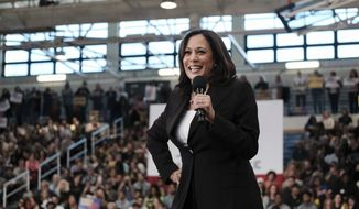 Democratic presidential candidate Sen. Kamala Harris, D-Calif., talks during her first campaign organizing event at Los Angeles Southwest College in Los Angeles, on Sunday, May 19, 2019. ((AP Photo/Richard Vogel)